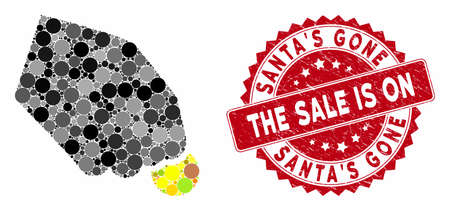Mosaic hand pay coin and grunge stamp seal with SantaS Gone the Sale Is On phrase. Mosaic vector is created with hand pay coin icon and with random round spots.