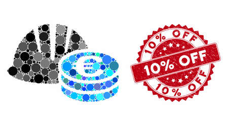 Collage helmet and Euro coins and rubber stamp seal with 10% Off phrase. Mosaic vector is created from helmet and Euro coins icon and with randomized round elements. 10% Off stamp seal uses red color, Ilustrace