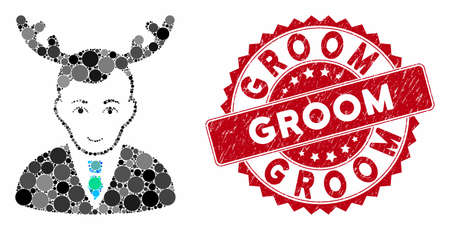Mosaic horned husband and rubber stamp seal with Groom caption. Mosaic vector is formed with horned husband icon and with randomized circle items. Groom stamp seal uses red color, and rubber texture.