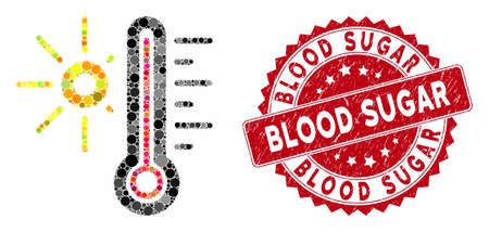 Mosaic hot weather and corroded stamp seal with Blood Sugar caption. Mosaic vector is formed with hot weather icon and with random round items. Blood Sugar stamp seal uses red color, and dirty design. Stock Illustratie