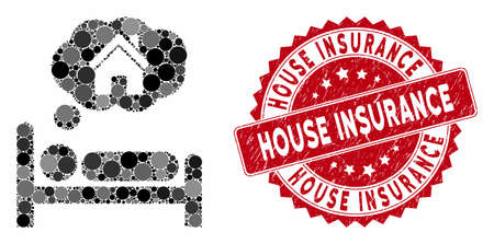 Mosaic house dreams and corroded stamp watermark with House Insurance phrase. Mosaic vector is designed with house dreams icon and with scattered circle spots. House Insurance stamp uses red color,