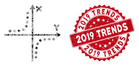 Mosaic hyperbola plot and corroded stamp seal with 2019 Trends text. Mosaic vector is designed with hyperbola plot icon and with random round spots. 2019 Trends seal uses red color, Çizim