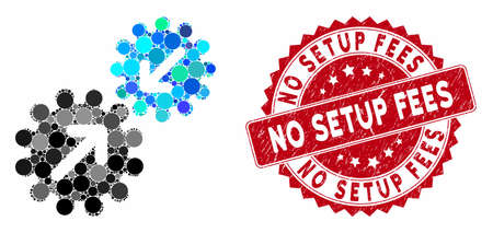 Mosaic integration gears and rubber stamp seal with No Setup Fees text. Mosaic vector is composed from integration gears icon and with random round items. No Setup Fees stamp seal uses red color, Ilustração