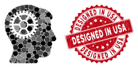Mosaic intellect cog and grunge stamp seal with Designed in USA caption. Mosaic vector is created from intellect cog icon and with randomized round elements. Designed in USA stamp seal uses red color,