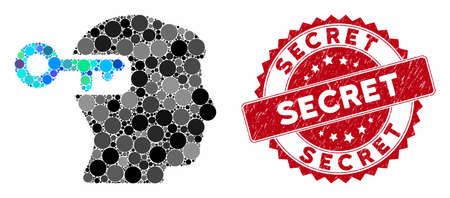 Mosaic intellect key and corroded stamp seal with Secret caption. Mosaic vector is formed with intellect key icon and with scattered circle items. Secret seal uses red color, and scratched surface.