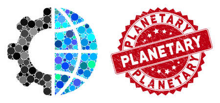 Mosaic international manufacture and rubber stamp seal with Planetary phrase. Mosaic vector is designed with international manufacture icon and with scattered spheric elements. Banco de Imagens - 133516910