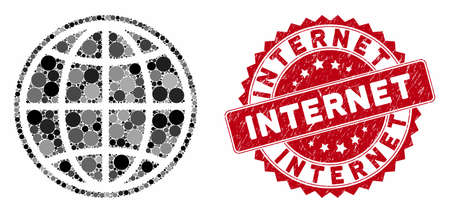 Mosaic internet and grunge stamp seal with Internet text. Mosaic vector is created with internet icon and with randomized spheric elements. Internet stamp uses red color, and grunge design. Ilustração