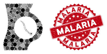 Mosaic intestinal parasite and grunge stamp seal with Malaria phrase. Mosaic vector is created from intestinal parasite icon and with random spheric items. Malaria seal uses red color,