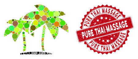 Mosaic island palms and rubber stamp seal with Pure Thai Massage text. Mosaic vector is created with island palms icon and with randomized round items. Pure Thai Massage stamp seal uses red color, Reklamní fotografie - 133517475