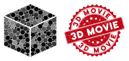 Mosaic isometric cube and rubber stamp watermark with 3D Movie phrase. Mosaic vector is formed with isometric cube icon and with random circle items. 3D Movie stamp seal uses red color,