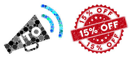 Mosaic ITO alert megaphone and rubber stamp seal with 15% Off text. Mosaic vector is composed from ITO alert megaphone icon and with random spheric elements. 15% Off stamp seal uses red color,