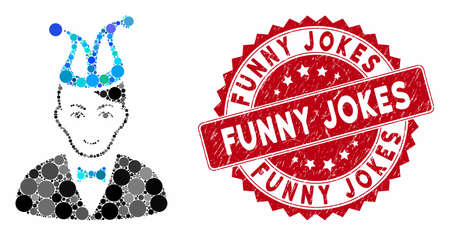 Collage joker and grunge stamp seal with Funny Jokes text. Mosaic vector is composed with joker icon and with scattered circle items. Funny Jokes stamp seal uses red color, and dirty design.