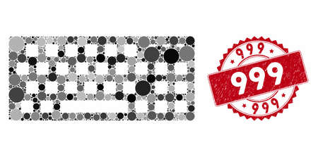Mosaic keyboard and rubber stamp seal with 999 caption. Mosaic vector is created from keyboard icon and with random circle elements. 999 stamp seal uses red color, and dirty surface. Ilustração