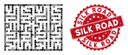 Mosaic labyrinth and corroded stamp watermark with Silk Road phrase. Mosaic vector is composed with labyrinth icon and with random spheric items. Silk Road stamp seal uses red color,