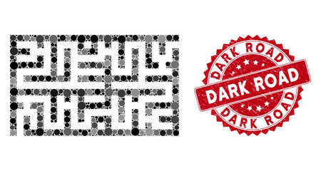 Mosaic labyrinth and rubber stamp watermark with Dark Road text. Mosaic vector is designed with labyrinth icon and with random circle items. Dark Road stamp uses red color, and distress design.