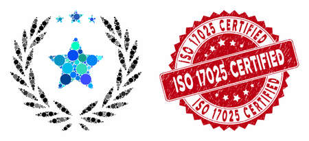 Mosaic laurel star emblem and rubber stamp seal with ISO 17025 Certified text. Mosaic vector is formed from laurel star emblem icon and with randomized spheric spots.