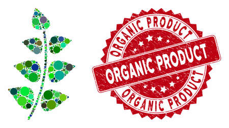 Mosaic leaf branch and grunge stamp seal with Organic Product phrase. Mosaic vector is composed with leaf branch icon and with scattered round elements. Organic Product stamp seal uses red color,