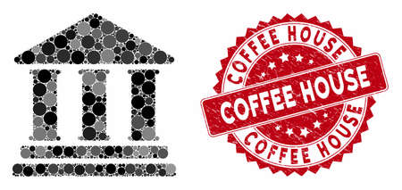 Mosaic library building and rubber stamp watermark with Coffee House text. Mosaic vector is created with library building icon and with scattered spheric spots. Coffee House stamp seal uses red color,