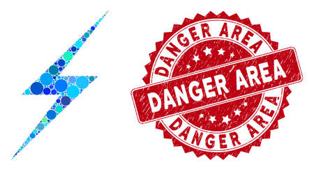 Mosaic lightning and corroded stamp seal with Danger Area caption. Mosaic vector is formed with lightning icon and with scattered spheric spots. Danger Area stamp seal uses red color,