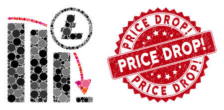 Mosaic Litecoin panic falling chart and grunge stamp seal with Price Drop! phrase. Mosaic vector is created with Litecoin panic falling chart icon and with scattered spheric elements.