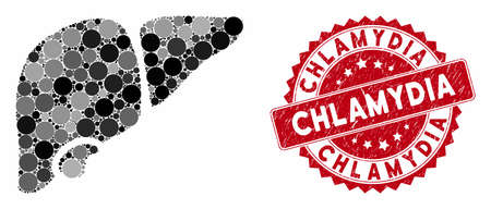 Mosaic liver and rubber stamp seal with Chlamydia phrase. Mosaic vector is designed with liver icon and with random round items. Chlamydia stamp uses red color, and dirty texture. Ilustração