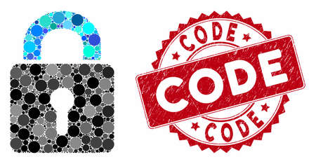 Collage lock and rubber stamp seal with Code caption. Mosaic vector is composed with lock icon and with random circle spots. Code seal uses red color, and rubber design.