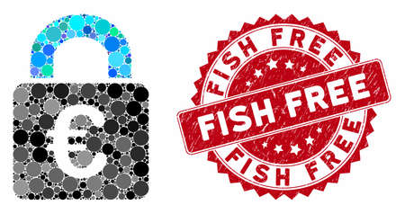 Mosaic lock and corroded stamp seal with Fish Free phrase. Mosaic vector is created with lock icon and with scattered round elements. Fish Free stamp seal uses red color, and scratched surface.