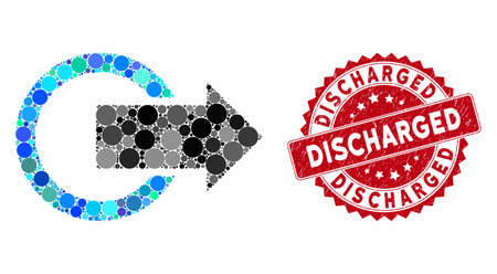 Mosaic logout and rubber stamp seal with Discharged text. Mosaic vector is composed with logout icon and with randomized spheric elements. Discharged stamp seal uses red color, and dirty texture. Ilustração