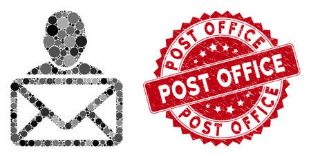 Mosaic mail recipient and grunge stamp seal with Post Office phrase. Mosaic vector is composed with mail recipient icon and with randomized spheric elements. Post Office stamp seal uses red color,