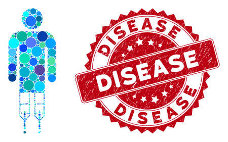 Mosaic man crutches and grunge stamp watermark with Disease phrase. Mosaic vector is designed with man crutches icon and with random round elements. Disease stamp seal uses red color, Ilustração