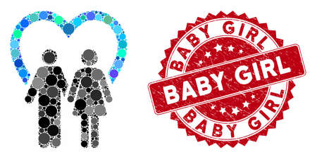 Mosaic marriage and corroded stamp seal with Baby Girl caption. Mosaic vector is created with marriage icon and with scattered round items. Baby Girl seal uses red color, and rubber texture.
