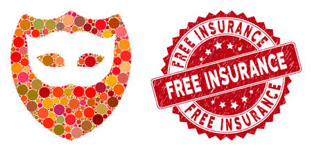 Mosaic mask shield and rubber stamp watermark with Free Insurance caption. Mosaic vector is created with mask shield icon and with random spheric spots. Free Insurance stamp uses red color,