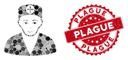 Mosaic medic and corroded stamp seal with Plague phrase. Mosaic vector is created with medic icon and with random circle items. Plague stamp seal uses red color, and grunge design.