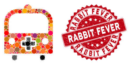 Mosaic medical bus and corroded stamp seal with Rabbit Fever phrase. Mosaic vector is created with medical bus icon and with scattered round spots. Rabbit Fever stamp seal uses red color, Ilustração