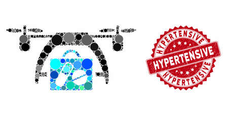 Mosaic medical drone and corroded stamp seal with Hypertensive caption. Mosaic vector is created with medical drone icon and with scattered spheric items. Hypertensive stamp uses red color,