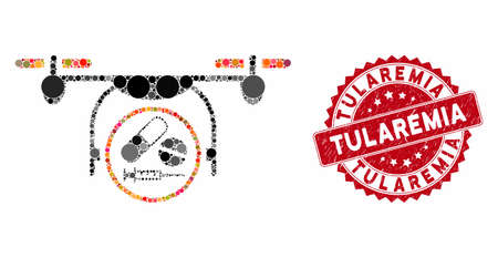 Mosaic medication quadcopter and rubber stamp watermark with Tularemia text. Mosaic vector is created with medication quadcopter icon and with random round items. Tularemia stamp uses red color, Illusztráció