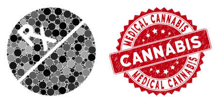 Mosaic medication tablet and rubber stamp seal with Medical Cannabis text. Mosaic vector is designed with medication tablet icon and with randomized circle elements. Illusztráció