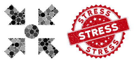 Mosaic meeting point and distressed stamp seal with Stress caption. Mosaic vector is composed with meeting point icon and with random circle items. Stress stamp uses red color, and rubber texture. Ilustração