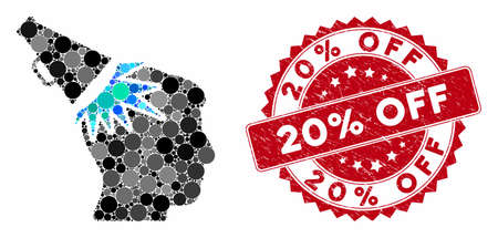Collage megaphone impact head and grunge stamp seal with 20% Off caption. Mosaic vector is designed with megaphone impact head icon and with randomized circle elements.