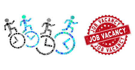 Mosaic men running over clocks and grunge stamp watermark with Job Vacancy phrase. Mosaic vector is designed with men running over clocks icon and with random circle spots.