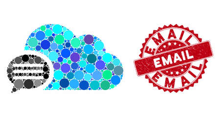 Mosaic message and corroded stamp seal with Email phrase. Mosaic vector is formed with message icon and with randomized circle elements. Email stamp seal uses red color, and distress surface. Ilustração