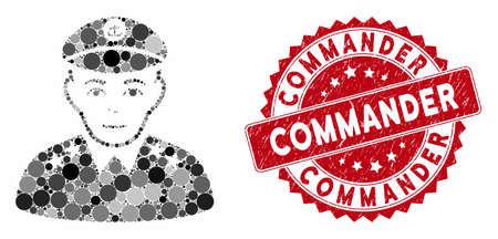 Collage military captain and corroded stamp seal with Commander caption. Mosaic vector is composed with military captain icon and with random spheric elements. Commander stamp seal uses red color, Ilustração