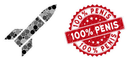 Collage missile and corroded stamp seal with 100% Penis text. Mosaic vector is designed with missile icon and with randomized circle items. 100% Penis stamp seal uses red color, and rubber design.