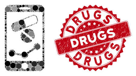 Mosaic mobile drugstore chart and grunge stamp watermark with Drugs caption. Mosaic vector is created with mobile drugstore chart icon and with random spheric elements. Illustration