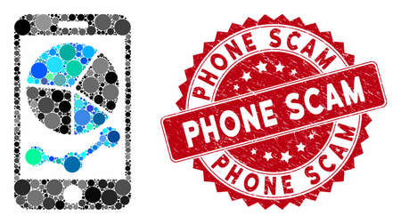 Mosaic mobile graphs and grunge stamp seal with Phone Scam phrase. Mosaic vector is designed with mobile graphs icon and with randomized round spots. Phone Scam seal uses red color, and grunge design.