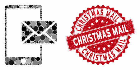 Mosaic mobile mail and grunge stamp seal with Christmas Mail phrase. Mosaic vector is formed with mobile mail icon and with scattered circle spots. Christmas Mail stamp seal uses red color,