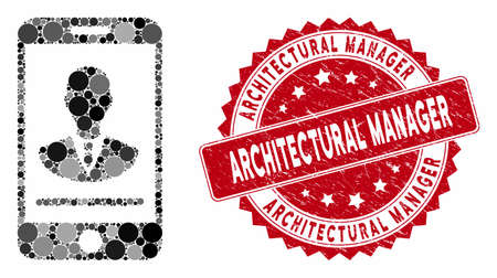Mosaic mobile manager contact and distressed stamp seal with Architectural Manager caption. Mosaic vector is designed with mobile manager contact icon and with scattered circle items.