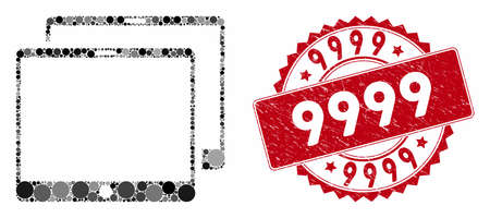 Mosaic mobile tabs and grunge stamp watermark with 9999 text. Mosaic vector is formed with mobile tabs icon and with scattered spheric items. 9999 stamp uses red color, and grunge surface.