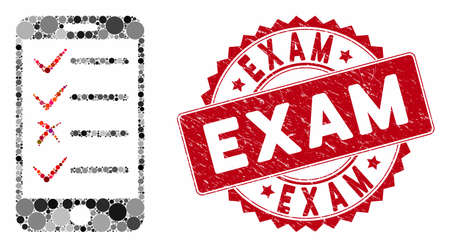 Mosaic mobile tasks and grunge stamp watermark with Exam text. Mosaic vector is created with mobile tasks icon and with random circle spots. Exam seal uses red color, and grunge texture.