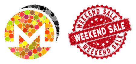 Mosaic Monero coins and distressed stamp seal with Weekend Sale text. Mosaic vector is designed with Monero coins icon and with scattered round items. Weekend Sale seal uses red color,